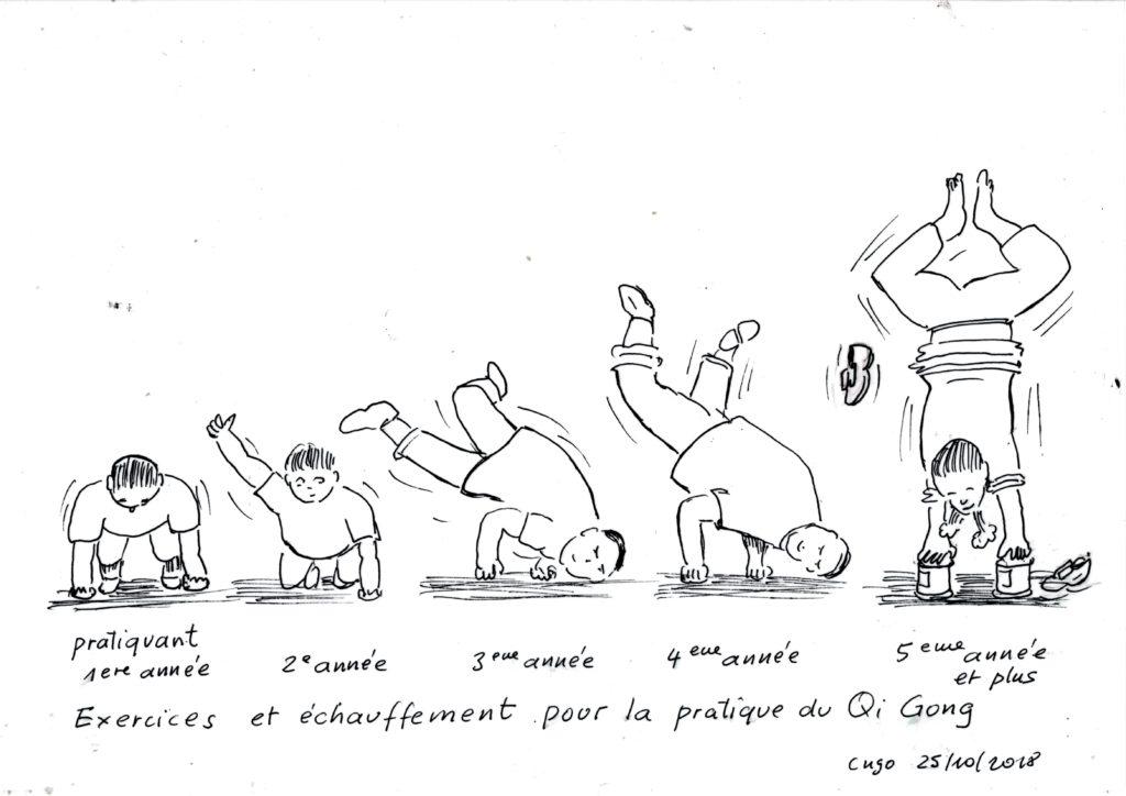 Pratique du Qi Gong dessin humoristique